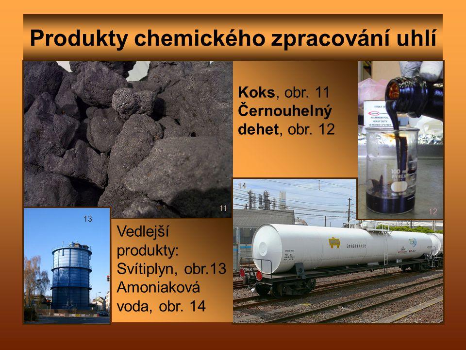 Produkty chemického zpracování uhlí 11 12 14 13 Koks, obr. 11 Černouhelný dehet, obr. 12 Vedlejší produkty: Svítiplyn, obr.13 Amoniaková voda, obr. 14