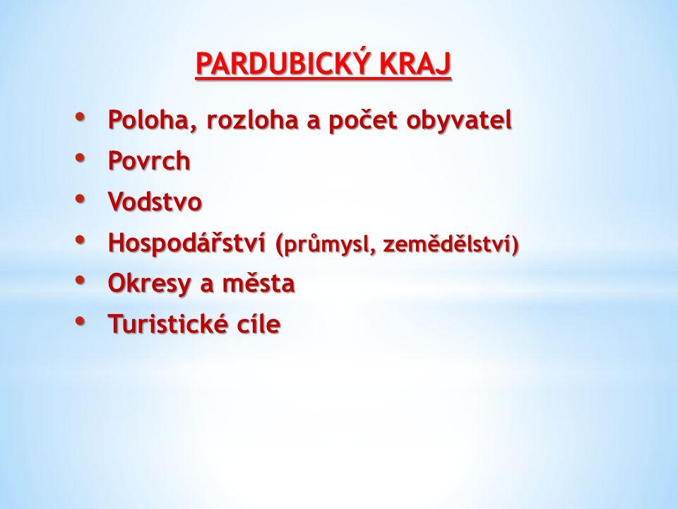 Poloha, rozloha a počet obyvatel Leží na východě Čech Leží na východě Čech Rozloha 4 519 km2 Rozloha 4 519 km2 Počet obyvatel 758 500, velká hustota zalidnění Počet obyvatel 758 500, velká hustota zalidnění