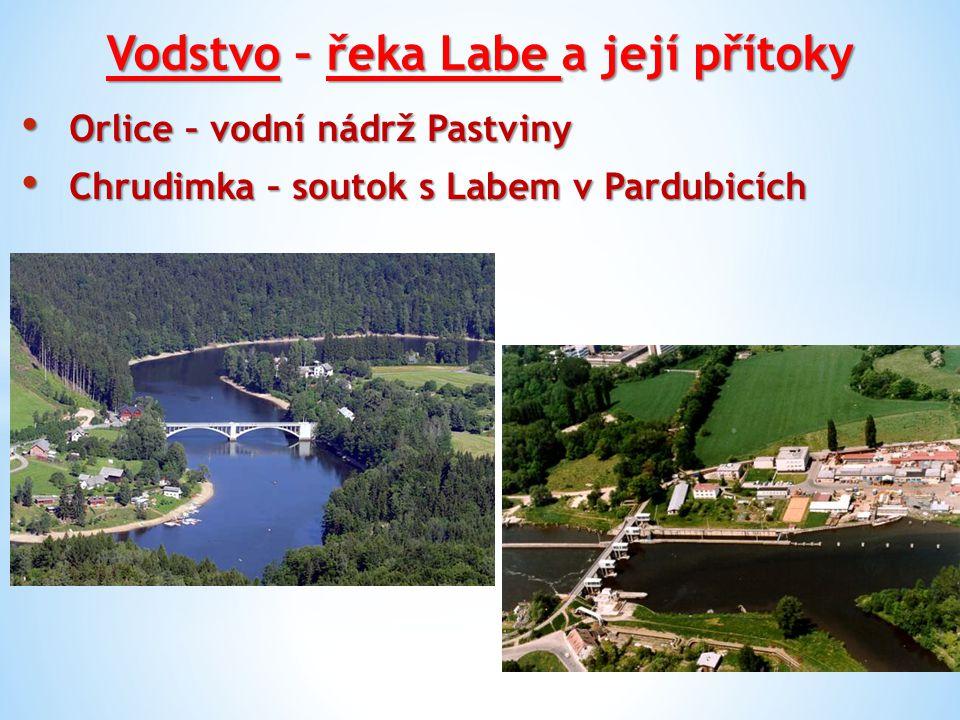 Vodstvo – řeka Labe a její přítoky Orlice – vodní nádrž Pastviny Orlice – vodní nádrž Pastviny Chrudimka – soutok s Labem v Pardubicích Chrudimka – so