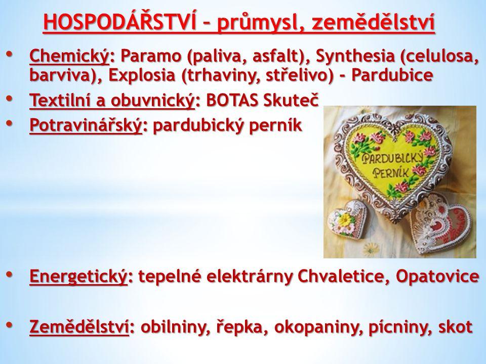 HOSPODÁŘSTVÍ – průmysl, zemědělství Chemický: Paramo (paliva, asfalt), Synthesia (celulosa, barviva), Explosia (trhaviny, střelivo) - Pardubice Chemic