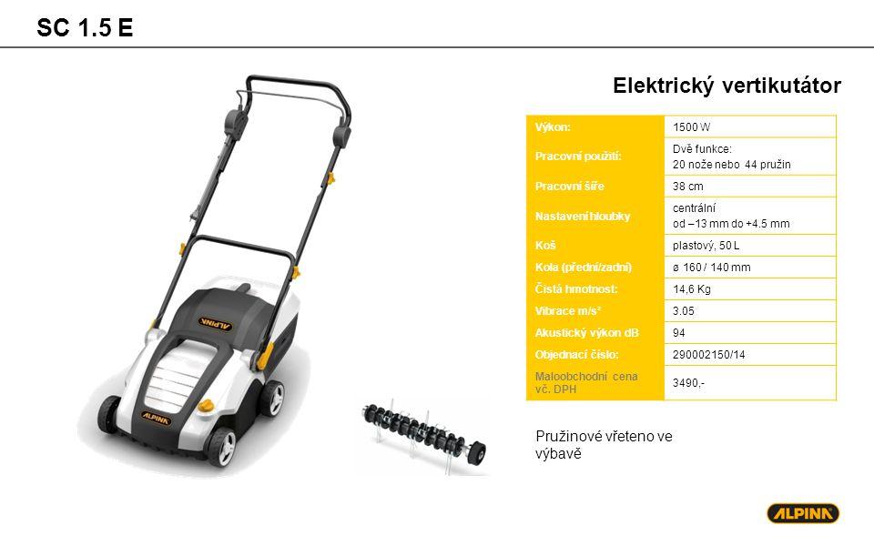 SC 1.5 E Elektrický vertikutátor Výkon:1500 W Pracovní použití: Dvě funkce: 20 nože nebo 44 pružin Pracovní šíře38 cm Nastavení hloubky centrální od –13 mm do +4.5 mm Košplastový, 50 L Kola (přední/zadní)ø 160 / 140 mm Čistá hmotnost:14,6 Kg Vibrace m/s²3.05 Akustický výkon dB94 Objednací číslo:290002150/14 Maloobchodní cena vč.