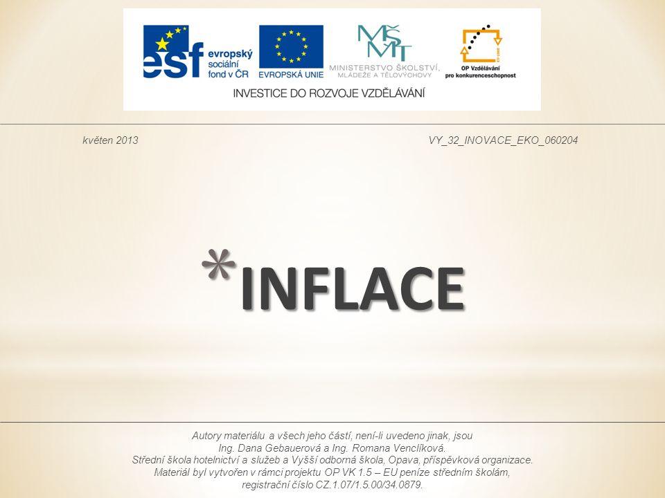 * INFLACE květen 2013VY_32_INOVACE_EKO_060204 Autory materiálu a všech jeho částí, není-li uvedeno jinak, jsou Ing. Dana Gebauerová a Ing. Romana Venc