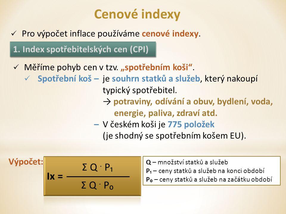 Cenové indexy Pro výpočet inflace používáme cenové indexy.