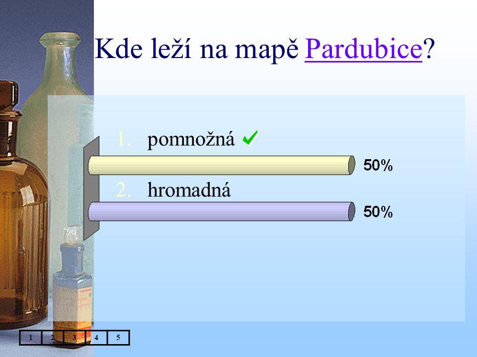 Kde leží na mapě Pardubice 1.pomnožná 2.hromadná 12345