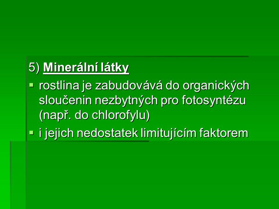 5) Minerální látky  rostlina je zabudovává do organických sloučenin nezbytných pro fotosyntézu (např.