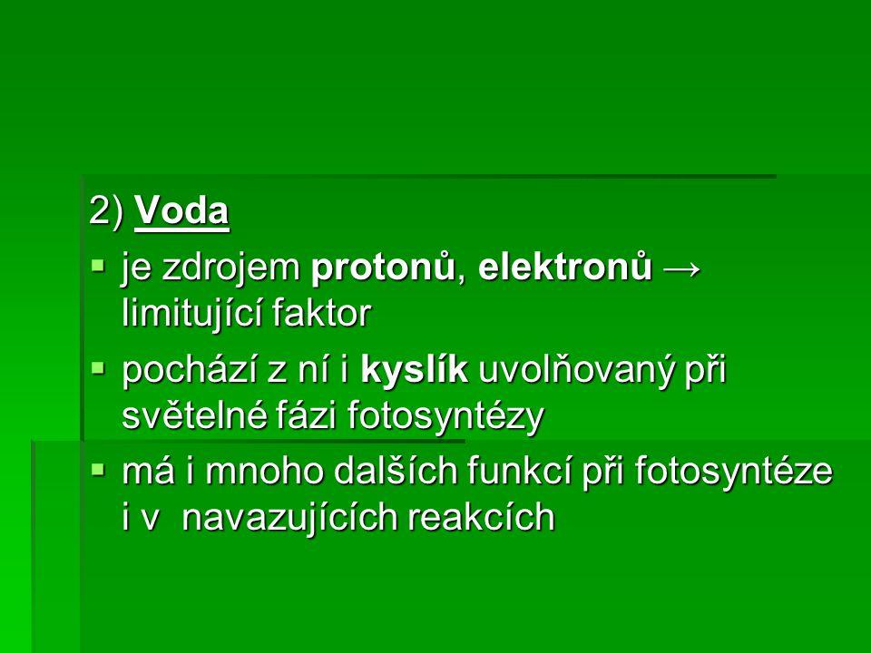 2) Voda  je zdrojem protonů, elektronů → limitující faktor  pochází z ní i kyslík uvolňovaný při světelné fázi fotosyntézy  má i mnoho dalších funkcí při fotosyntéze i v navazujících reakcích