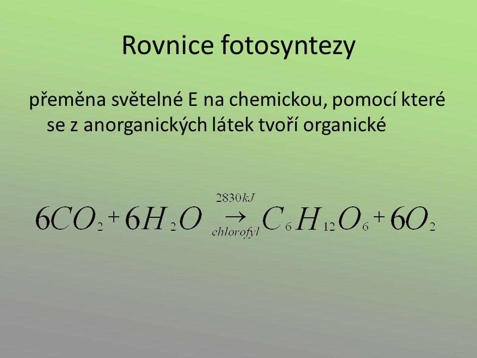 Fotolýza vody – Hillova reakce H 2 O 2 H + + 2 e - + ½ O 2 – protony (H + ) → redukce NADP + (→ NADPH + H + ) – elektrony (e - ) → regenerace P II – kyslík (O 2 ) → uvolňuje se do atmosféry