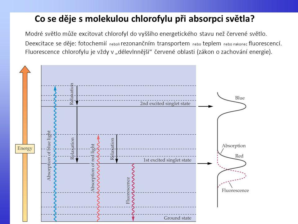 Modré světlo může excitovat chlorofyl do vyššího energetického stavu než červené světlo. Deexcitace se děje: fotochemií neboli rezonančním transportem