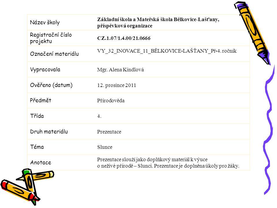 Název školy Základní škola a Mateřská škola Bělkovice-Lašťany, příspěvková organizace Registrační číslo projektu CZ.1.07/1.4.00/21.0666 Označení materiálu VY_32_INOVACE_11_BĚLKOVICE-LAŠŤANY_Př-4.