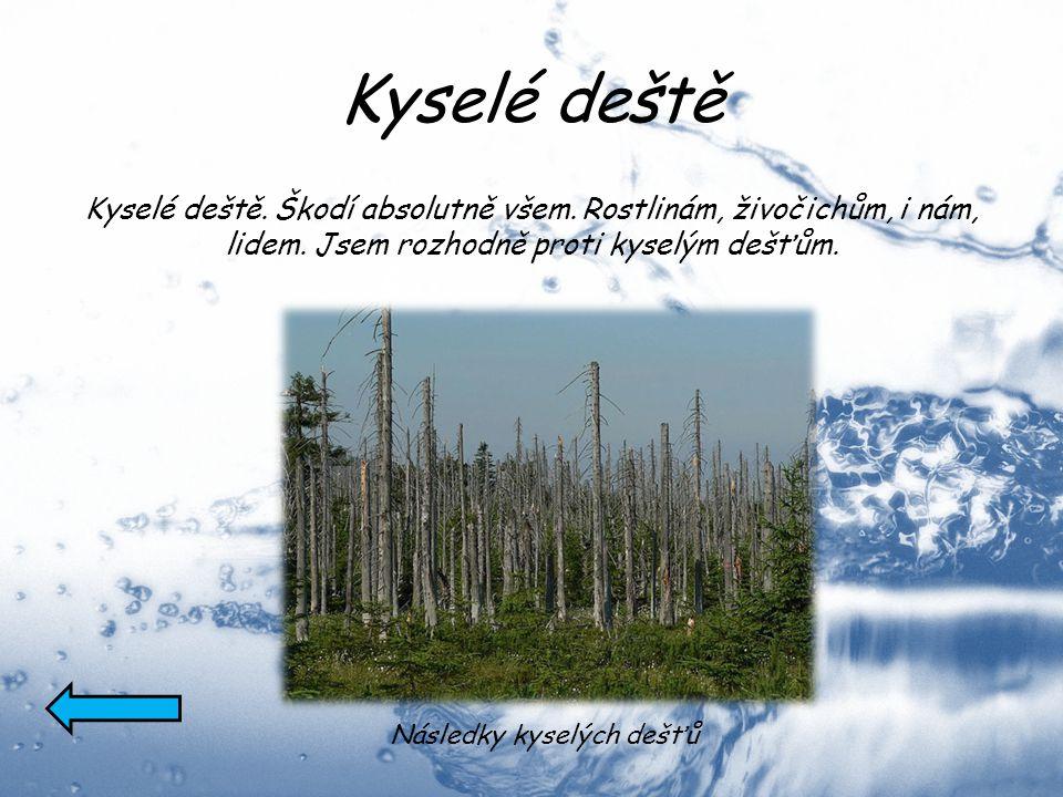 Kyselé deště Kyselé deště. Škodí absolutně všem. Rostlinám, živočichům, i nám, lidem. Jsem rozhodně proti kyselým dešťům. Následky kyselých dešťů