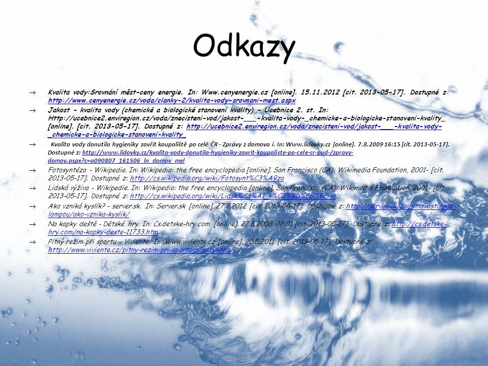 Odkazy  Kvalita vody:Srovnání měst-ceny energie. In: Www.cenyenergie.cz [online]. 15.11.2012 [cit. 2013-05-17]. Dostupné z: http://www.cenyenergie.cz