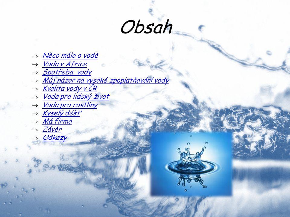 Obsah  Něco málo o vodě Něco málo o vodě  Voda v Africe Voda v Africe  Spotřeba vody Spotřeba vody  Můj názor na vysoké zpoplatňování vody Můj náz