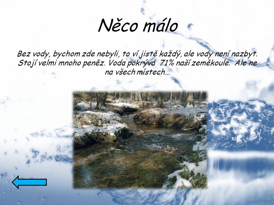 Něco málo Bez vody, bychom zde nebyli, to ví jistě každý, ale vody není nazbyt. Stojí velmi mnoho peněz. Voda pokrývá 71% naší zeměkoule. Ale ne na vš