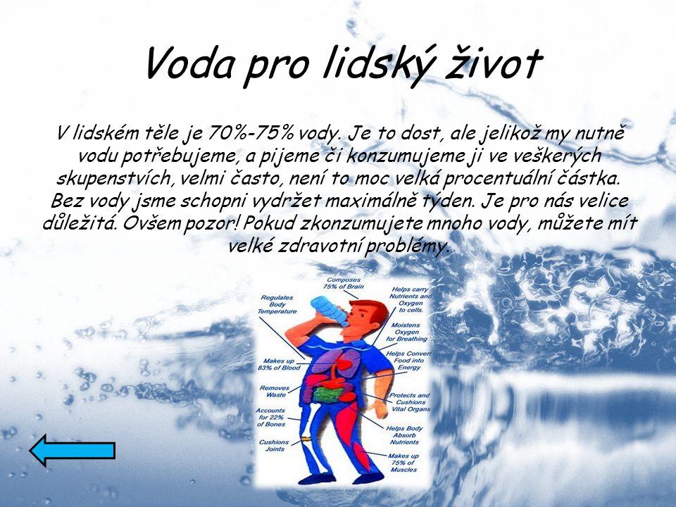 Voda pro lidský život V lidském těle je 70%-75% vody. Je to dost, ale jelikož my nutně vodu potřebujeme, a pijeme či konzumujeme ji ve veškerých skupe