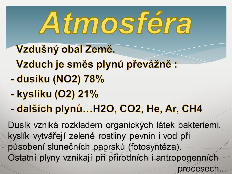 Dusík vzniká rozkladem organických látek bakteriemi, kyslík vytvářejí zelené rostliny pevnin i vod při působení slunečních paprsků (fotosyntéza).