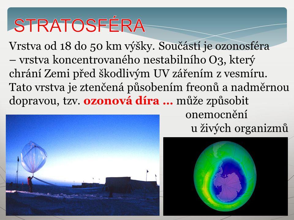 Vrstva od 18 do 50 km výšky. Součástí je ozonosféra – vrstva koncentrovaného nestabilního O3, který chrání Zemi před škodlivým UV zářením z vesmíru. T