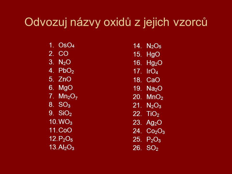 Odvozuj názvy oxidů z jejich vzorců 1.OsO 4 2.CO 3.N 2 O 4.PbO 2 5.ZnO 6.MgO 7.Mn 2 O 7 8.SO 3 9.SiO 2 10.WO 3 11.CoO 12.P 2 O 5 13.Al 2 O 3 14.N 2 O