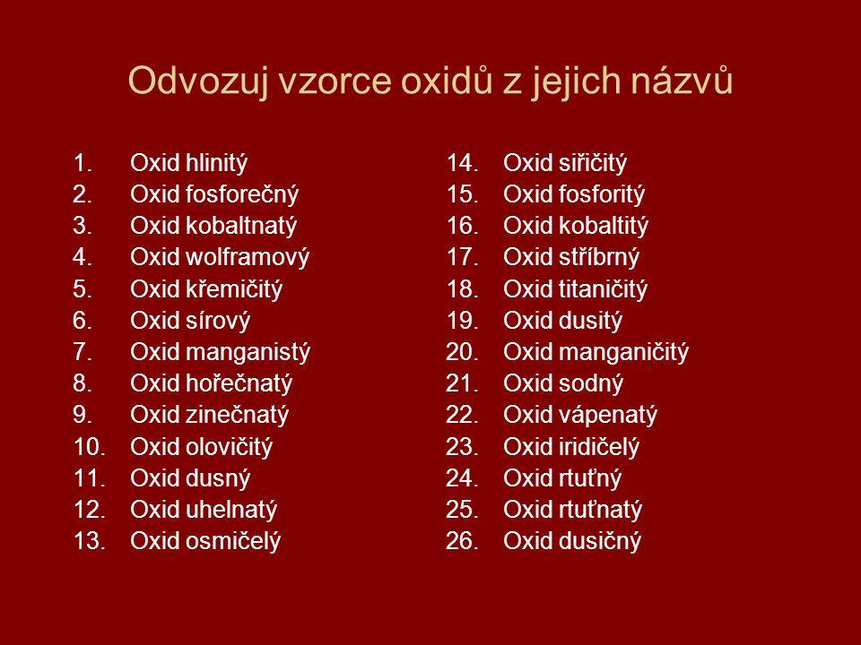 Odvozuj názvy oxidů z jejich vzorců 1.OsO 4 2.CO 3.N 2 O 4.PbO 2 5.ZnO 6.MgO 7.Mn 2 O 7 8.SO 3 9.SiO 2 10.WO 3 11.CoO 12.P 2 O 5 13.Al 2 O 3 14.N 2 O 5 15.HgO 16.Hg 2 O 17.IrO 4 18.CaO 19.Na 2 O 20.MnO 2 21.N 2 O 3 22.TiO 2 23.Ag 2 O 24.Co 2 O 3 25.P 2 O 3 26.SO 2