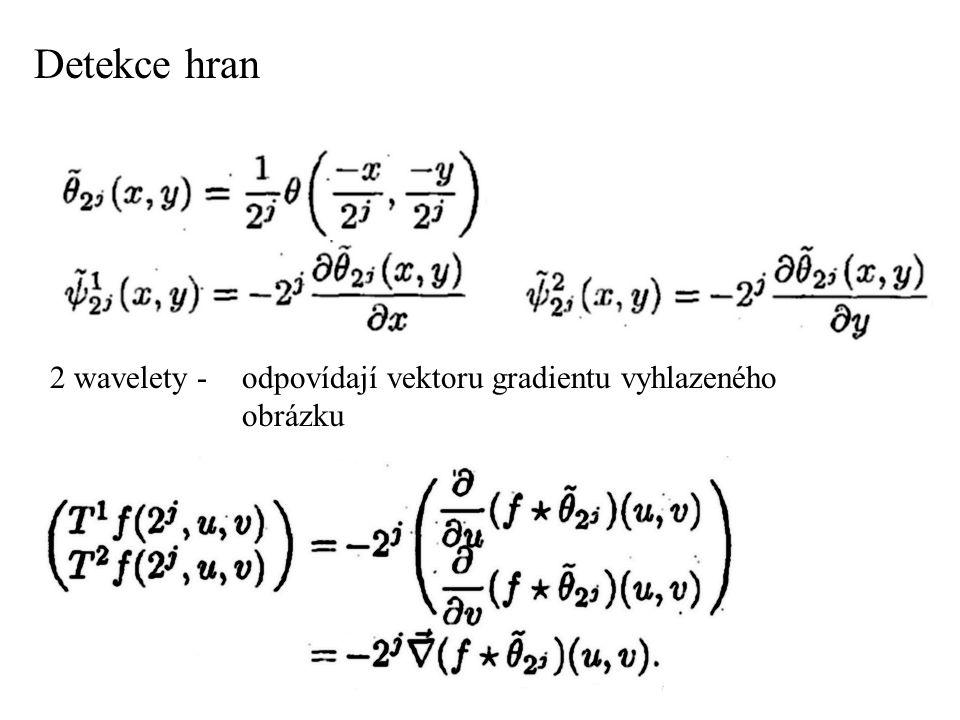 2 wavelety - odpovídají vektoru gradientu vyhlazeného obrázku