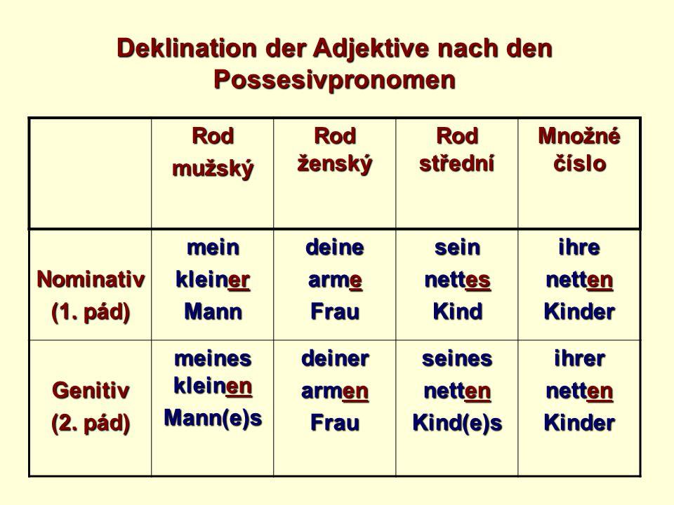 Rodmužský Rod ženský Rod střední Množné číslo Nominativ (1. pád) mein kleiner Manndeine arme Frausein nettes Kindihre netten Kinder Genitiv (2. pád) m