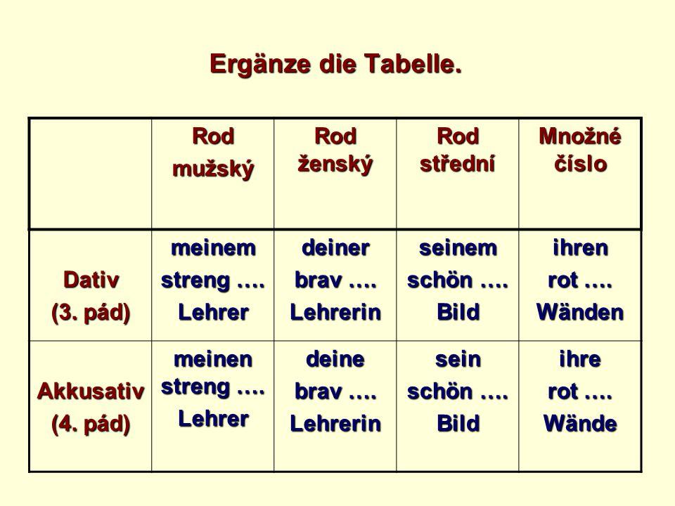 Ergänze die Tabelle.Rodmužský Rod ženský Rod střední Množné číslo Dativ (3.