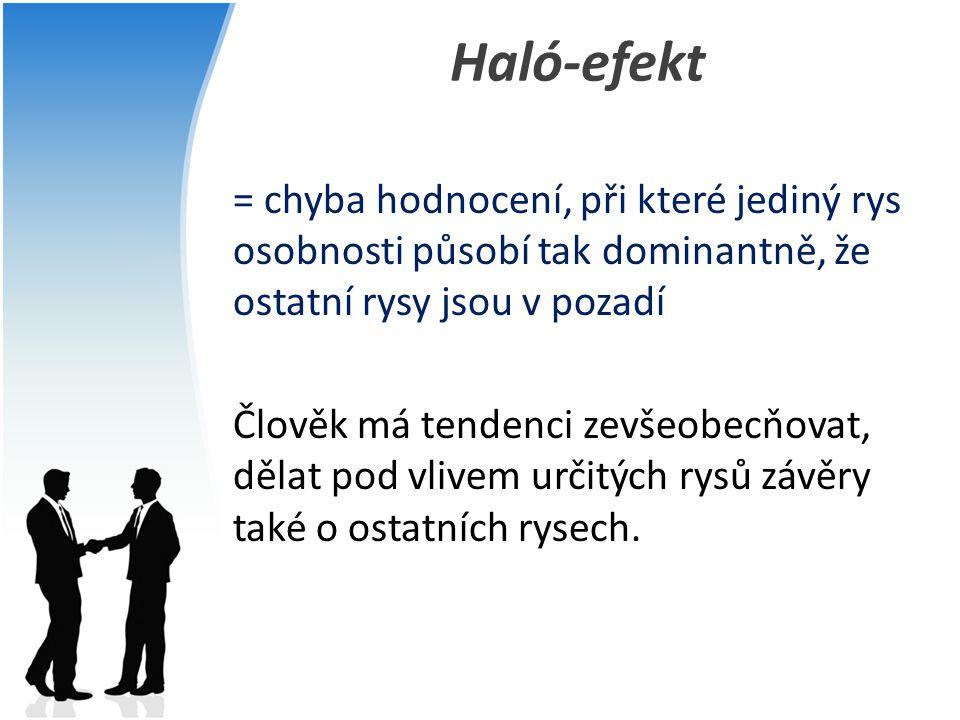 Haló-efekt = chyba hodnocení, při které jediný rys osobnosti působí tak dominantně, že ostatní rysy jsou v pozadí Člověk má tendenci zevšeobecňovat, d