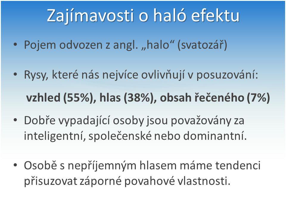 """Zajímavosti o haló efektu Pojem odvozen z angl. """"halo"""" (svatozář) Rysy, které nás nejvíce ovlivňují v posuzování: vzhled (55%), hlas (38%), obsah řeče"""