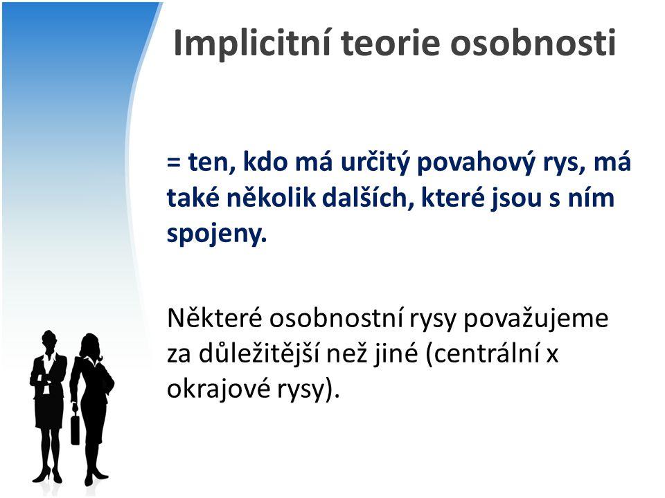 Implicitní teorie osobnosti = ten, kdo má určitý povahový rys, má také několik dalších, které jsou s ním spojeny. Některé osobnostní rysy považujeme z