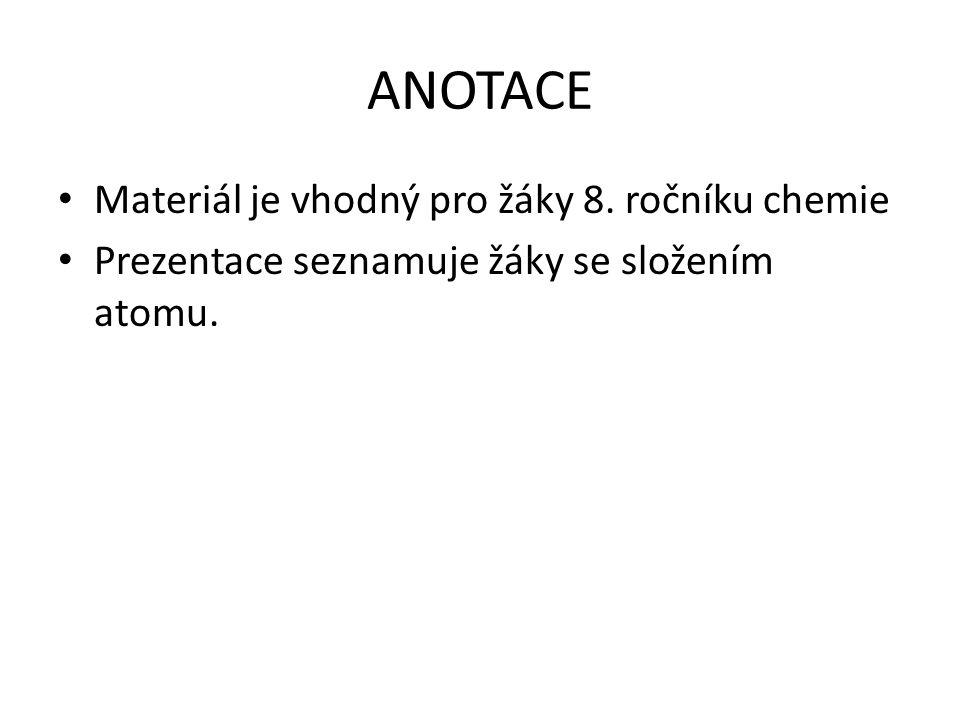 ANOTACE Materiál je vhodný pro žáky 8. ročníku chemie Prezentace seznamuje žáky se složením atomu.