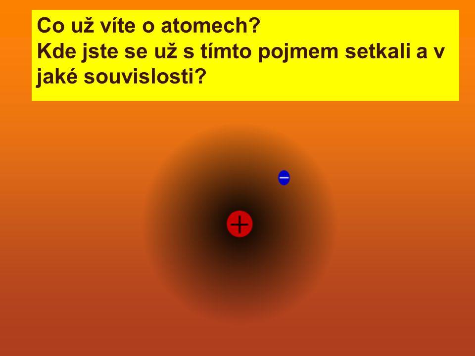 Co už víte o atomech Kde jste se už s tímto pojmem setkali a v jaké souvislosti