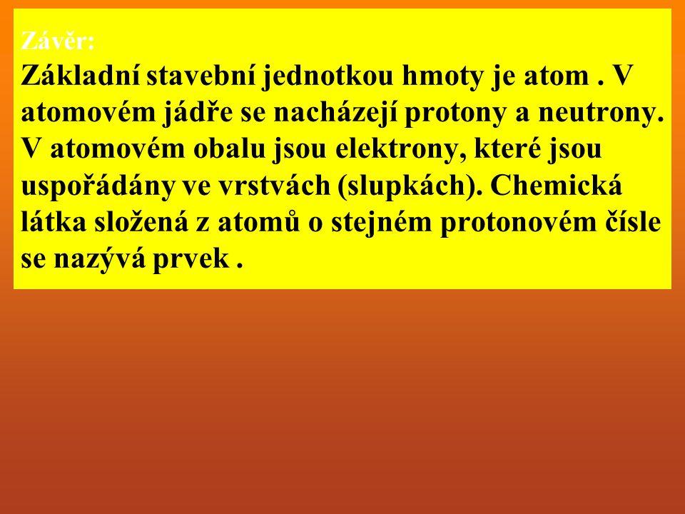 Závěr: Základní stavební jednotkou hmoty je atom. V atomovém jádře se nacházejí protony a neutrony.