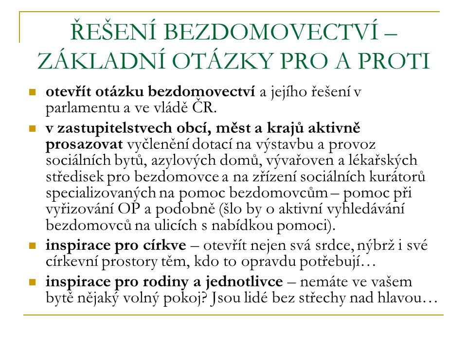 ŘEŠENÍ BEZDOMOVECTVÍ – ZÁKLADNÍ OTÁZKY PRO A PROTI otevřít otázku bezdomovectví a jejího řešení v parlamentu a ve vládě ČR. v zastupitelstvech obcí, m