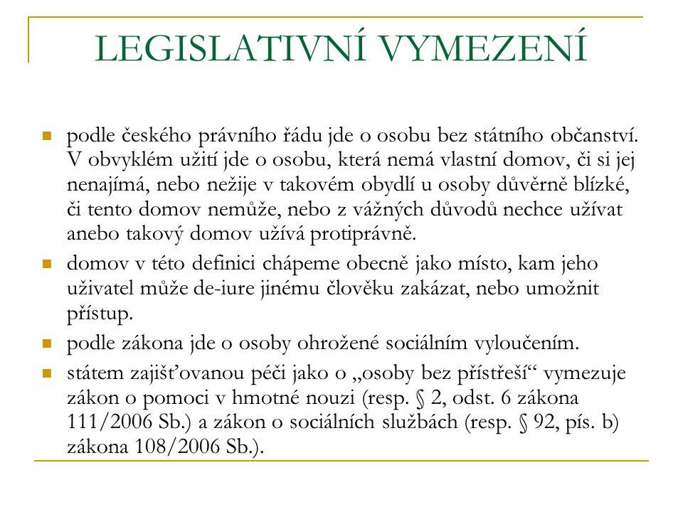 LEGISLATIVNÍ VYMEZENÍ podle českého právního řádu jde o osobu bez státního občanství. V obvyklém užití jde o osobu, která nemá vlastní domov, či si je