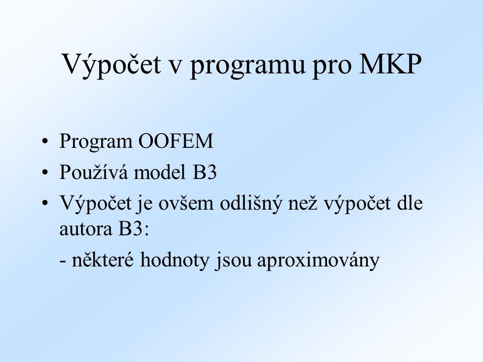 Výpočet v programu pro MKP Program OOFEM Používá model B3 Výpočet je ovšem odlišný než výpočet dle autora B3: - některé hodnoty jsou aproximovány