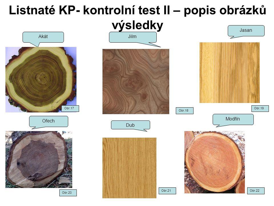 Listnaté KP- kontrolní test II – popis obrázků výsledky Akát Jilm Jasan Ořech Modřín Dub Obr.18 Obr.19 Obr.22 Obr.20 Obr.21 Obr.17