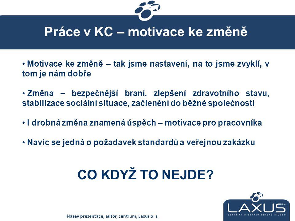 Práce v KC – motivace ke změně Nazev prezentace, autor, centrum, Laxus o.
