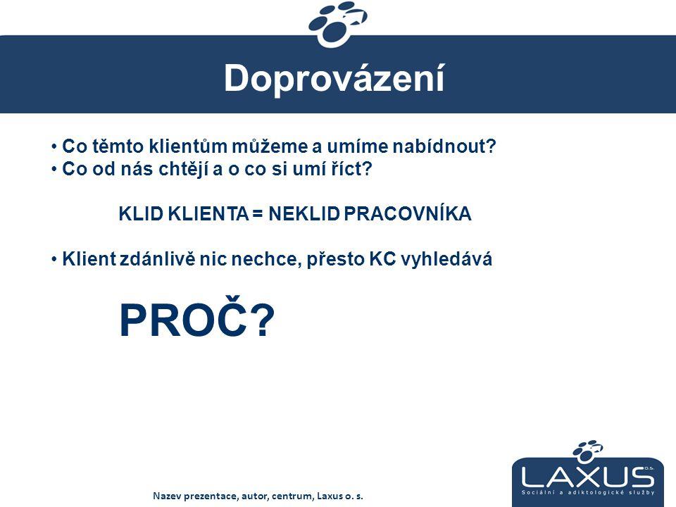 Doprovázení Nazev prezentace, autor, centrum, Laxus o.