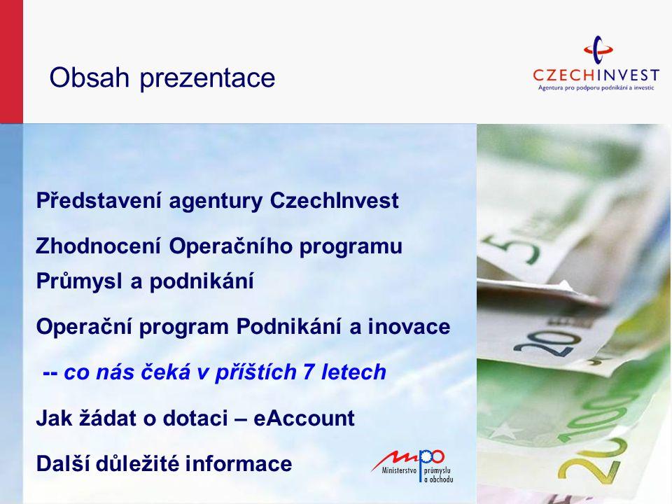 Obsah prezentace Představení agentury CzechInvest Zhodnocení Operačního programu Průmysl a podnikání Operační program Podnikání a inovace -- co nás čeká v příštích 7 letech Jak žádat o dotaci – eAccount Další důležité informace