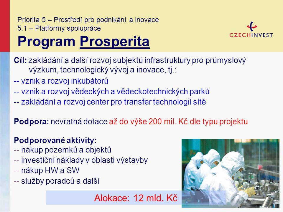 Priorita 5 – Prostředí pro podnikání a inovace 5.1 – Platformy spolupráce Program Prosperita Cíl: zakládání a další rozvoj subjektů infrastruktury pro průmyslový výzkum, technologický vývoj a inovace, tj.: -- vznik a rozvoj inkubátorů -- vznik a rozvoj vědeckých a vědeckotechnických parků -- zakládání a rozvoj center pro transfer technologií sítě Podpora: nevratná dotace až do výše 200 mil.