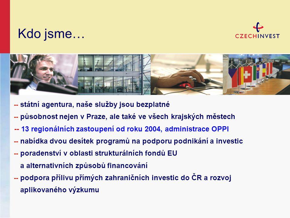 Kdo jsme… -- státní agentura, naše služby jsou bezplatné -- působnost nejen v Praze, ale také ve všech krajských městech -- 13 regionálních zastoupení od roku 2004, administrace OPPI -- nabídka dvou desítek programů na podporu podnikání a investic -- poradenství v oblasti strukturálních fondů EU a alternativních způsobů financování -- podpora přílivu přímých zahraničních investic do ČR a rozvoj aplikovaného výzkumu