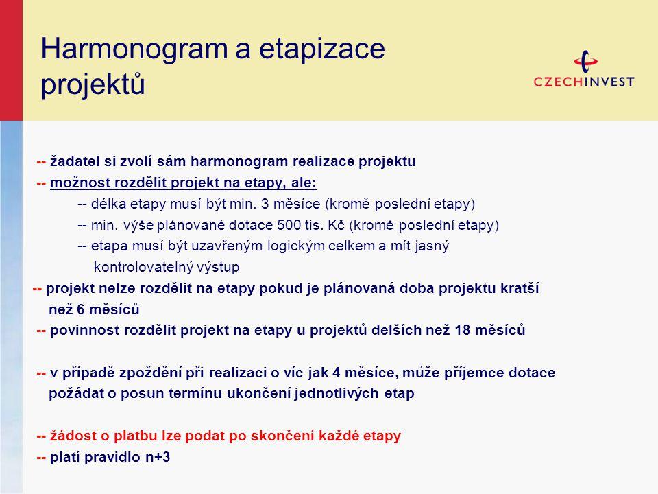 Harmonogram a etapizace projektů -- žadatel si zvolí sám harmonogram realizace projektu -- možnost rozdělit projekt na etapy, ale: -- délka etapy musí být min.
