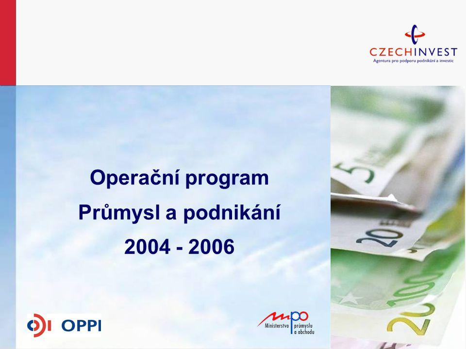 OPPP 2004-2006 2004 - založení 13 regionálních kanceláří CI Role CI - implementační agentura MPO Propagace programů a administrace projektů (konzultace projektů – příjem žádostí – formální kontrola – kontrola přijatelnosti – komunikace se žadateli – příjem žádostí o platbu – kontrola na místě – monitoring projektů) Ukončení příjmu žádostí – září 2006 Realizace projektů do roku 2008 Rozhodnutí o udělení dotace do konce roku 2006