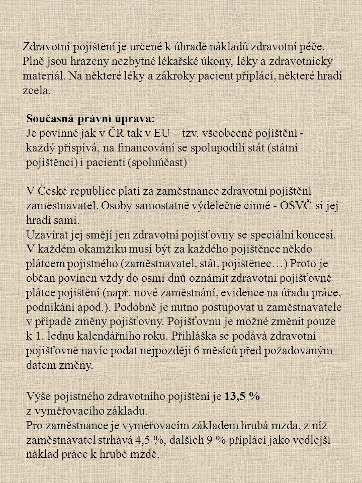 V České republice platí za zaměstnance zdravotní pojištění zaměstnavatel. Osoby samostatně výdělečně činné - OSVČ si jej hradí sami. Uzavírat jej směj