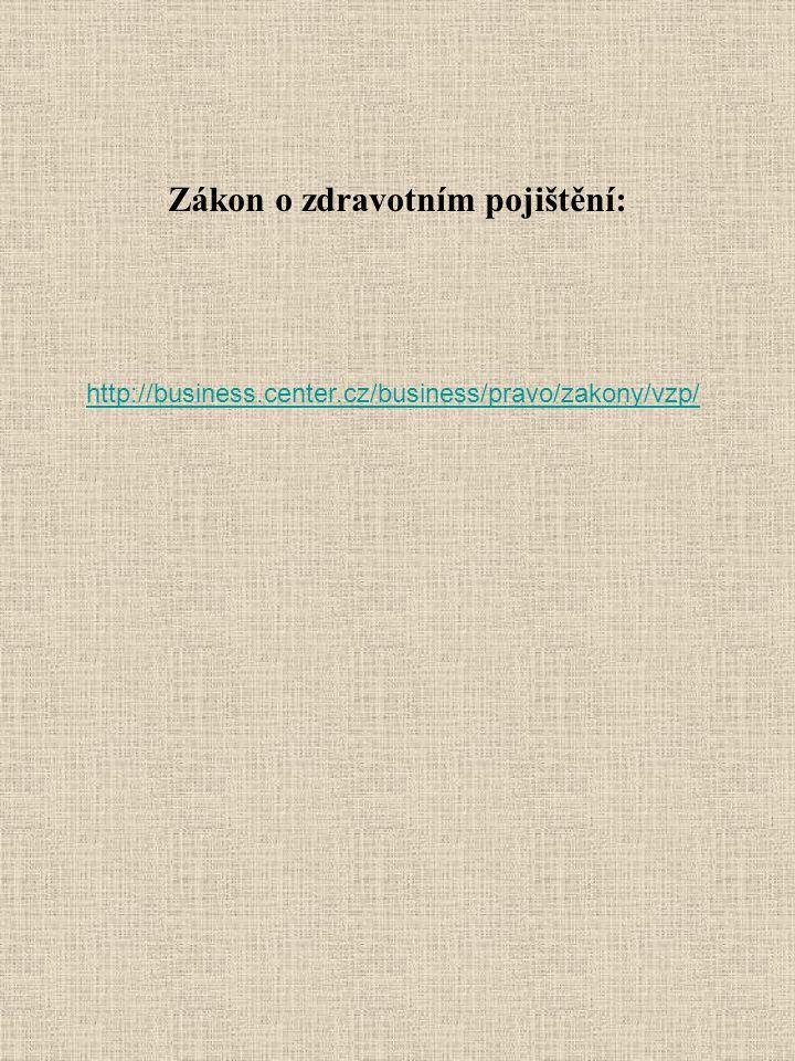 Zákon o zdravotním pojištění: http://business.center.cz/business/pravo/zakony/vzp/
