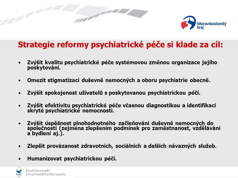 Zavedli jsme systém environmentálního řízení a auditu Strategie reformy psychiatrické péče si klade za cíl: Zvýšit kvalitu psychiatrické péče systémovou změnou organizace jejího poskytování.