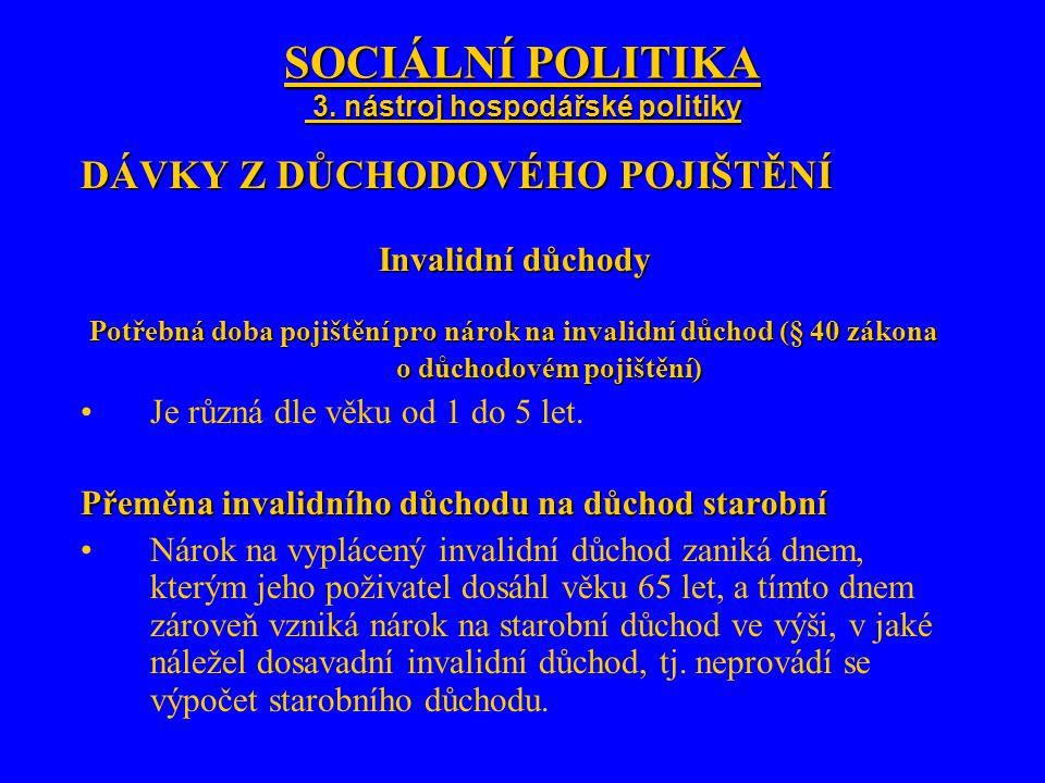 SOCIÁLNÍ POLITIKA 3. nástroj hospodářské politiky DÁVKY Z DŮCHODOVÉHO POJIŠTĚNÍ Invalidní důchody Potřebná doba pojištění pro nárok na invalidní důcho