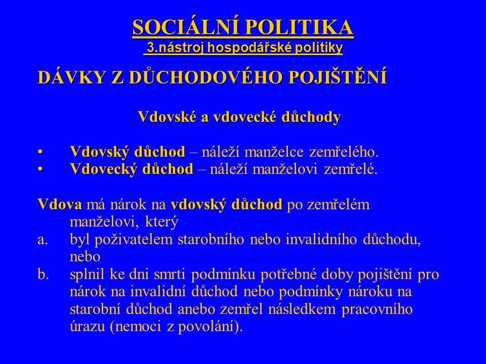 SOCIÁLNÍ POLITIKA 3.nástroj hospodářské politiky DÁVKY Z DŮCHODOVÉHO POJIŠTĚNÍ Vdovské a vdovecké důchody Vdovský důchodVdovský důchod – náleží manžel