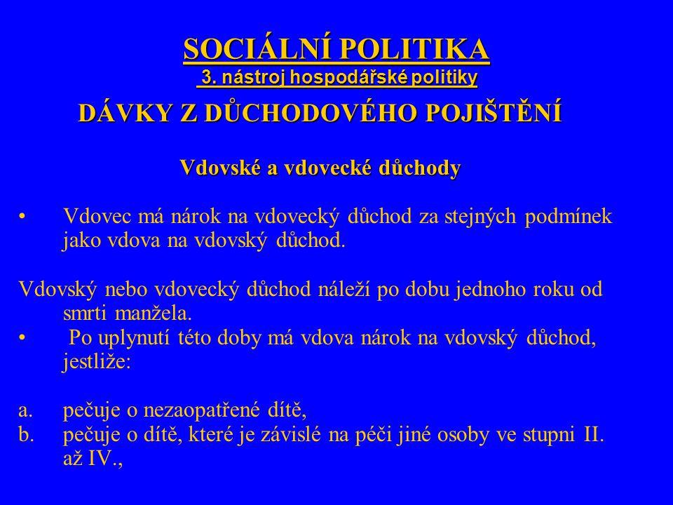 SOCIÁLNÍ POLITIKA 3. nástroj hospodářské politiky DÁVKY Z DŮCHODOVÉHO POJIŠTĚNÍ Vdovské a vdovecké důchody Vdovec má nárok na vdovecký důchod za stejn