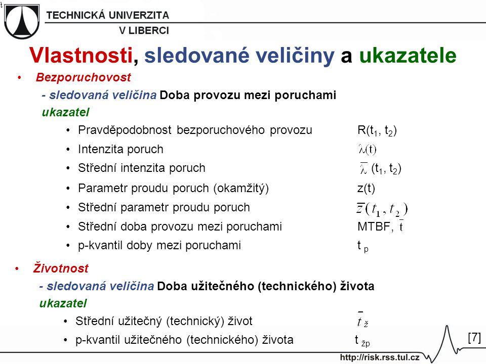 Vlastnosti, sledované veličiny a ukazatele Bezporuchovost - sledovaná veličina Doba provozu mezi poruchami ukazatel Pravděpodobnost bezporuchového provozuR(t 1, t 2 ) Intenzita poruch Střední intenzita poruch (t 1, t 2 ) Parametr proudu poruch (okamžitý)z(t) Střední parametr proudu poruch Střední doba provozu mezi poruchamiMTBF, p-kvantil doby mezi poruchamit p Životnost - sledovaná veličina Doba užitečného (technického) života ukazatel Střední užitečný (technický) život p-kvantil užitečného (technického) života t žp [7][7]