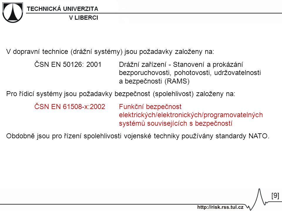 V dopravní technice (drážní systémy) jsou požadavky založeny na: ČSN EN 50126: 2001 Drážní zařízení - Stanovení a prokázání bezporuchovosti, pohotovosti, udržovatelnosti a bezpečnosti (RAMS) Pro řídicí systémy jsou požadavky bezpečnost (spolehlivost) založeny na: ČSN EN 61508-x:2002Funkční bezpečnost elektrických/elektronických/programovatelných systémů souvisejících s bezpečností Obdobně jsou pro řízení spolehlivosti vojenské techniky používány standardy NATO.